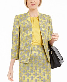 Petite Collarless Jacquard Jacket