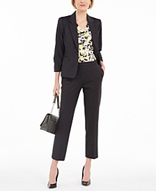 Petite Ruched-Sleeve Blazer, Printed Blouse & Pants