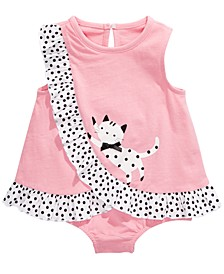 Baby Girls Cotton Kitty Sunsuit, Created For Macy's