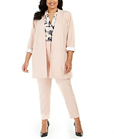 Plus Size Collarless Blazer, Floral-Print Top & Straight-Leg Pants
