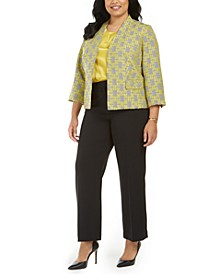 Plus Size Jacquard Plaid Jacket, Charmeuse Blouse & Pants