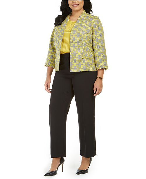 Kasper Plus Size Jacquard Plaid Jacket, Charmeuse Blouse & Pants