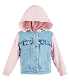 Baby Girls Hooded Denim Jacket, Created for Macy's
