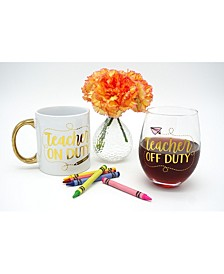 Teacher On Duty - Off Duty 18oz. Ceramic Mug & 22oz. Stemless Wine Glass Set