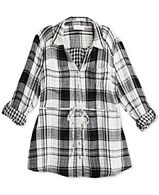 Plus Size Plaid Button-Front Shirt