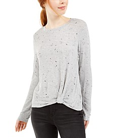 Juniors' Constellation Printed Twist Front T-Shirt
