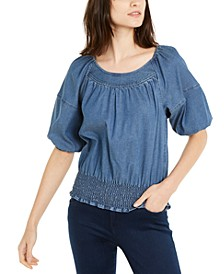 INC Denim Puff-Sleeve Top, Created for Macy's