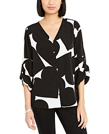 Heart-Print Gathered-Sleeve Shirt, Created for Macy's