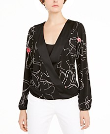 Printed Surplice-Neck Blouse, Created For Macy's