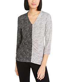 Alfani Petite Mixed-Print Ruched-Front Top, Created for Macy's