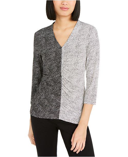 Alfani Printed Colorblocked Top, Created for Macy's