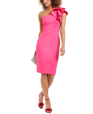 Eliza J One-shoulder Scuba Crepe Cocktail Dress In Fluorescent Pink