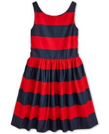 Big Girls Striped Cotton Sateen Dress