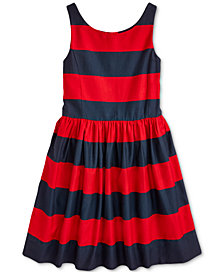 Polo Ralph Lauren Big Girls Striped Cotton Sateen Dress