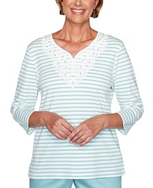 Cottage Charm Striped Lace Trim Top