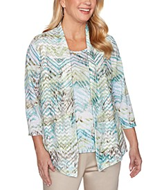 Cottage Charm Layered-Look Chevron Print Top