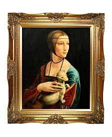 "by Overstockart Lady with An Ermine by Leonardo Da Vinci with Victorian Frame Oil Painting Wall Art, 32"" x 28"""