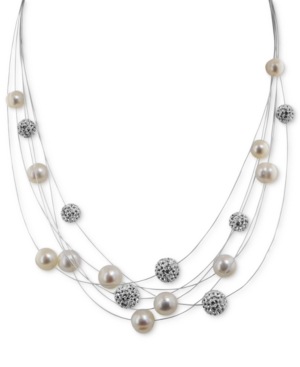 Honora Style Cultured Freshwater Pearl and Crystal 6-Row Necklace in Sterling Silver (7mm)