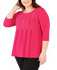 Plus Size Studded Pleated 3/4-Sleeve Top