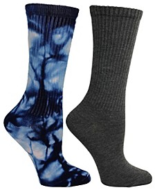 Women's 2 Pack Tie-Dye and Solid Tube Crew Sock, Online Only