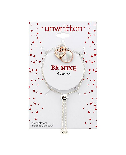 Unwritten Cubic Zirconia Heart And Mother Of Pearl Charms Rose Gold Two Tone Bolo Bracelet