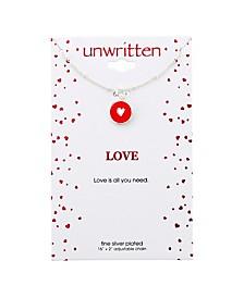 "Heart Enamel Pendant Silver Plated Necklace , 16""+2"" Extender"