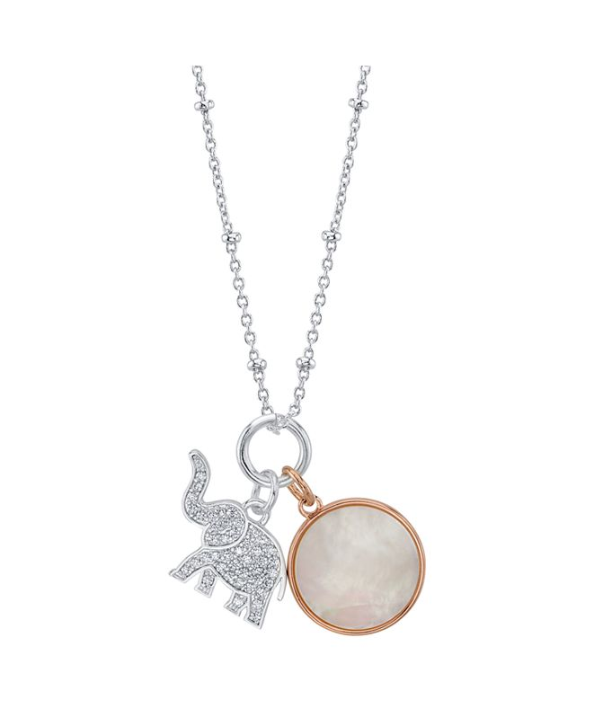 Unwritten  Cubic Zirconia Elephant And Mother Of Pearl Pendant Silver Plated Necklace