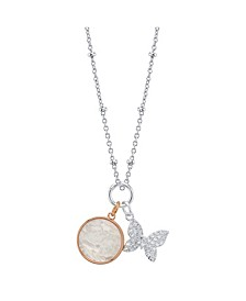 Cubic Zirconia Butterfly And Mother Of Pearl Pendant Rose Gold Two Tone Fine Plated Silver Necklace