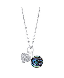 """Cubic Zirconia Heart and Mother of Pearl Pendant Rose Gold Two Tone Necklace, 16""""+ 2"""" Extender"""