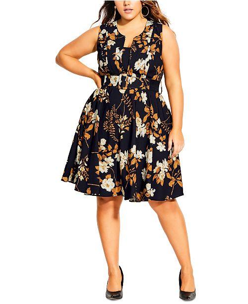 City Chic Trendy Plus Size Shimmer Leaf Dress