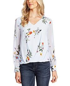 Floral-Print Foldover-Hem Top