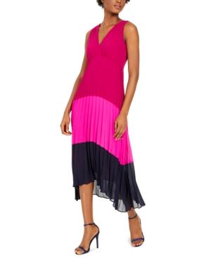 Taylor Petite Crepe Chiffon Pleated Midi Dress