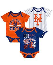Baby New York Mets Newest Rookie 3 Piece Bodysuit Set
