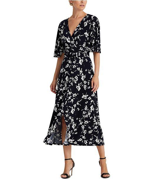 Lauren Ralph Lauren Floral Belted Jersey Dress