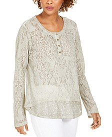 Lace Henley Top, Created for Macy's