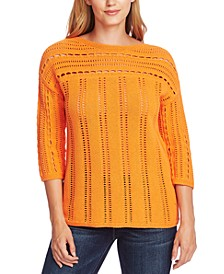Cotton Open-Stitch Boat-Neck Sweater
