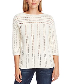 Cotton Open-Stitch Boat-Neck Sweater