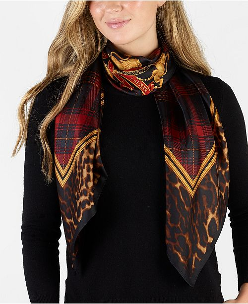 Lauren Ralph Lauren Sonia Leopard Plaid Silk Square Scarf