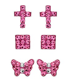 Children's  Crystal Cross, Butterfly, Square Stud Earrings - Set of 3 in Sterling Silver