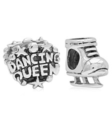 Children's  Dancing Queen Skate Bead Charms - Set of 2 in Sterling Silver