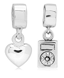 Children's  Music Love Drop Charms - Set of 2 in Sterling Silver
