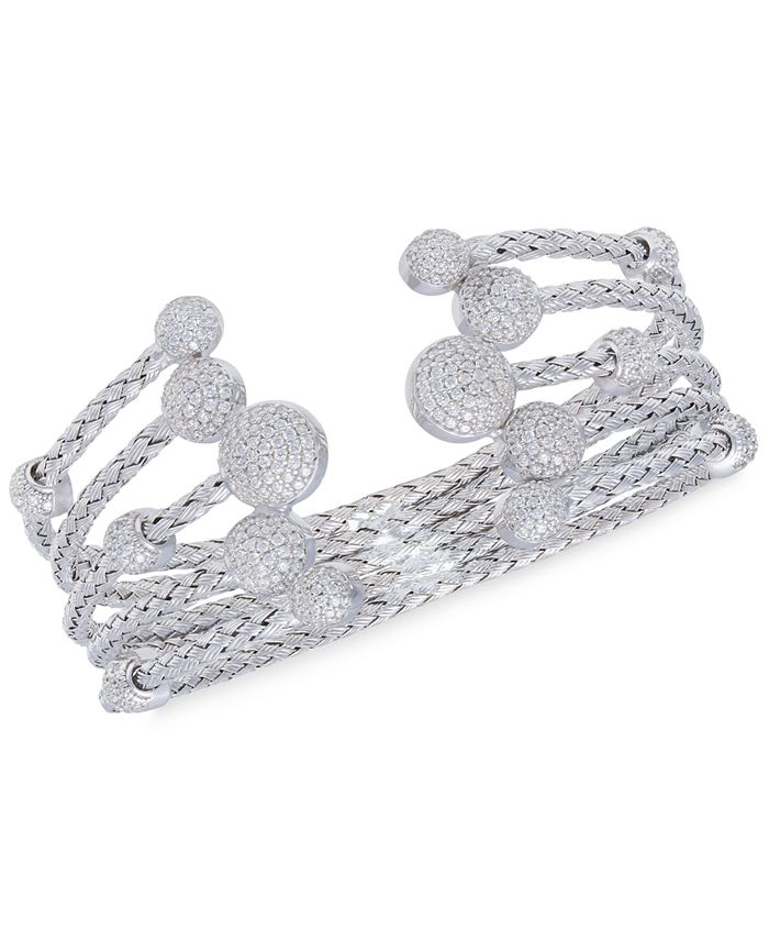 Rhona Sutton - 5 Row Crystal Dome Cuff Bangle in Sterling Silver
