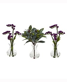 10in. Baby Breath and Olive Artificial Arrangement in Vase Set of 3