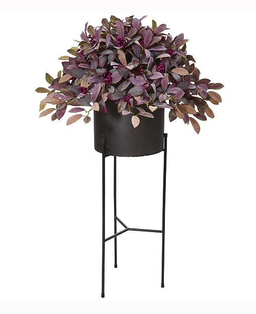 Nearly Natural 49in. Fall Laurel Leaf with Berries Artificial Plant in Black Planter with Stand
