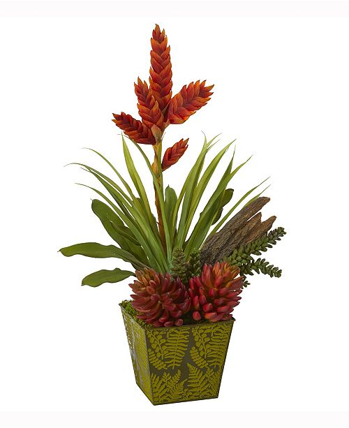 Nearly Natural 24in. Succulent and Bromeliad Artificial Plant in Green Planter