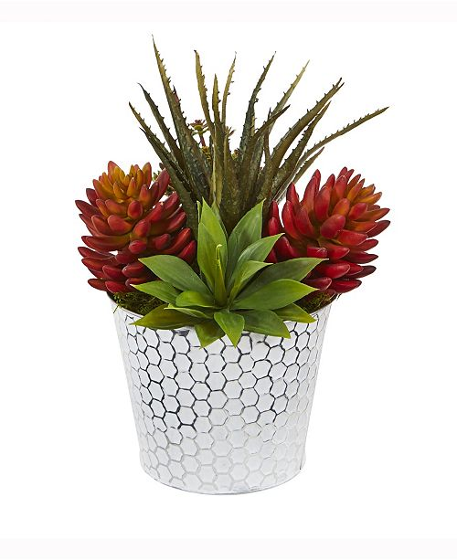 Nearly Natural 12in. Mixed Succulent Artificial Plant in Embossed White Planter
