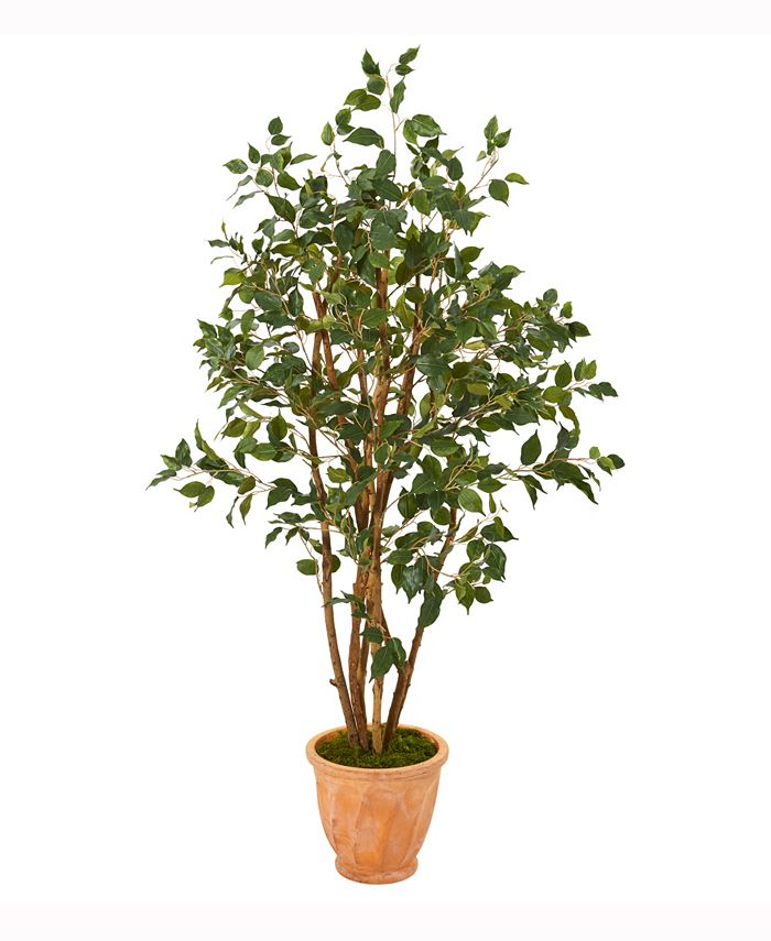 Nearly Natural - 53in. Ficus Artificial Tree in Terracotta Planter