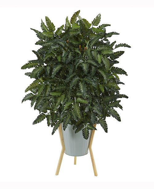 Nearly Natural 33in. Bracken Fern Artificial Plant in Green Planter with Stand