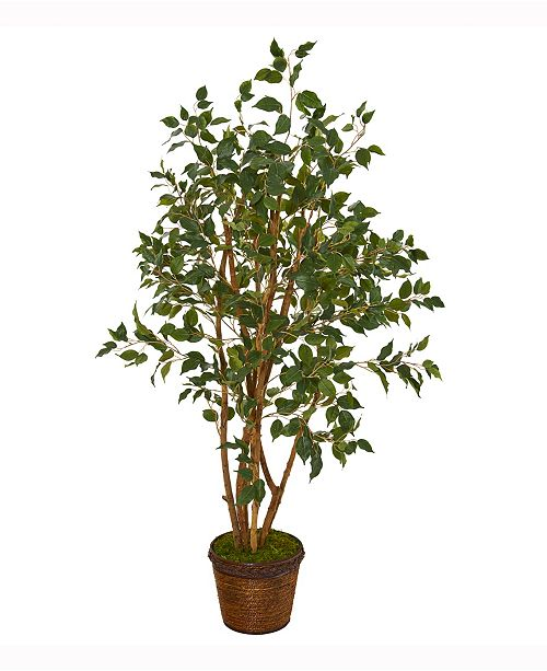 Nearly Natural 51in. Ficus Artificial Tree in Coiled Rope Planter