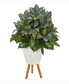 37in. Mixed Greens Artificial Plant in White Planter with Stand
